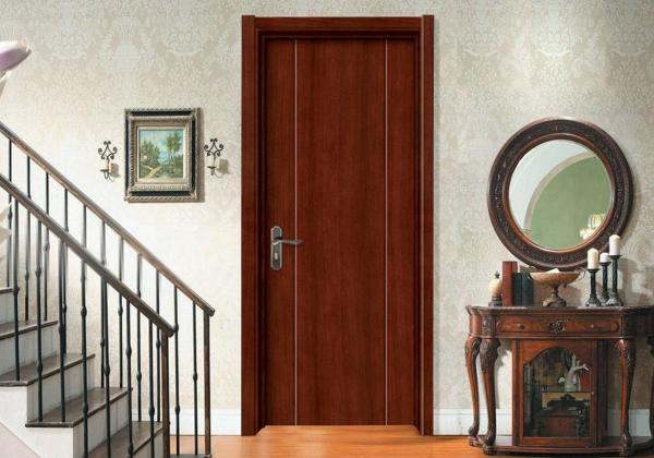 Quality Painting Wooden Flush Door Teak Veneer With Lock Hinge Prehung Sliding Swing Open for sale