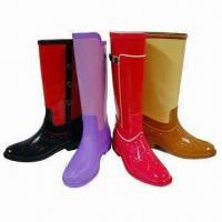 China Stylish Ladies' Riding Rain Boots with Wide Toe Model, Various Colors are Available on sale