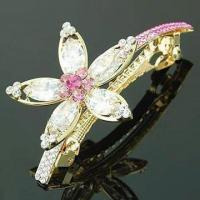 China Gold Plated Hair Clip made of Zircon/Zinc Alloy, Decorated with Rhinestone, OEM Orders Welcome on sale