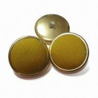 China Fabric Covered Buttons with Plastic Base, Available in Electroplating Gold Color wholesale