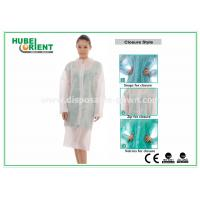 China Protective Clothing PP Disposable Lab Coats For Women , Disposable Coveralls With Zip wholesale