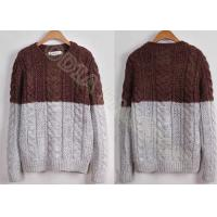 China Full Chunky Mens Cable Knit Sweaters in Crew Neck with Coffe Grey Stripes , Two Tone wholesale