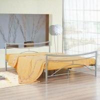 China Powder-coated Metal Bed Frame with Wooden Slat, Made of Iron Tubes on sale