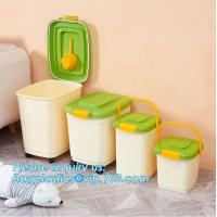 China PP plastic type and stocked eco-friendly feature Round pet food container with scoop, Airtight Plastic Pet Dog Food stor on sale