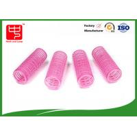 China Diameter 22mm lovely pink hook and loop Hair Rollers hook and loop with plastic core wholesale