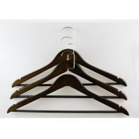 China Lightweight Dark Brown Wooden Hangers , Mens Suit Hangers With Black PP Tube wholesale