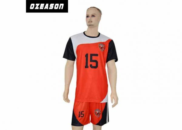 Quality Customized New Club Kids Soccer Jerseys , Youth Red / Black Soccer Uniforms for sale