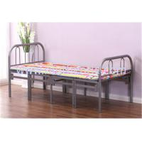 China Simple Tri Fold Portable Folding Bed Fold Away Cot With Steel Pipe Frame wholesale