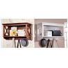 China Wall Mounted Wood Display Rack Shelves , Solid Wood Frame / Metal Hangers wholesale