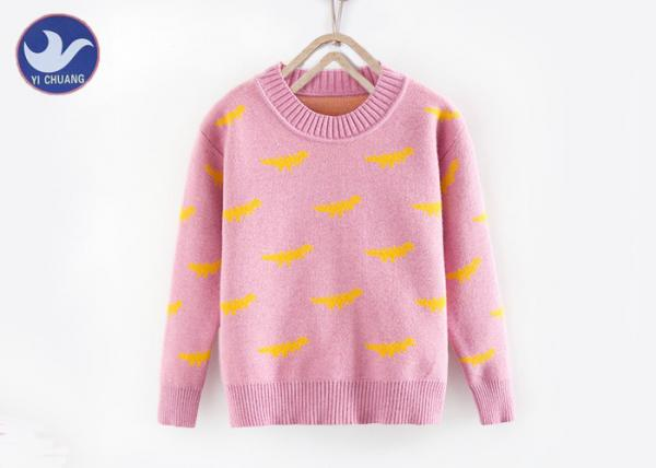 Quality Dinosaur Jacquard Pullover Sweater Girls , Double Layer Crew Neck Knitted Jumper for sale
