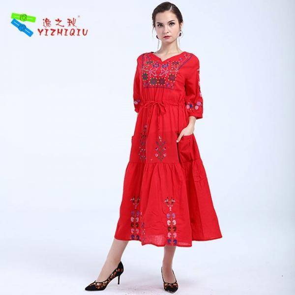 Quality YIZHIQIU embroidery floral boho dress for sale