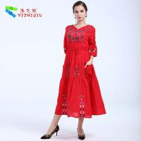 China YIZHIQIU embroidery floral boho dress wholesale