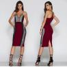 China Multi Color Draped Bodycon Dress V Neck , Formal Womens Bandage Dresses wholesale