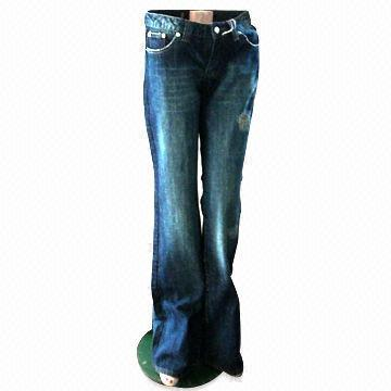 Quality Wide Leg Jeans with Sandblasted Front for sale