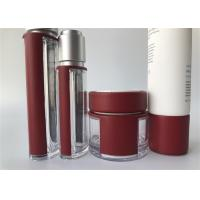 China Glass Bottle Cosmetic Tube Packaging With Red Leather Milk White Outer Cap wholesale