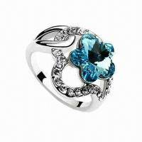 China Fashionable Silver Aquamarine Gemstone Jewelry Ring with Cubic Zircon, Available in Various Designs wholesale