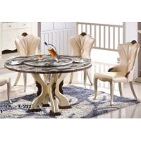 China 8 persons round marble table with Lazy Susan hotel dining room furniture wholesale