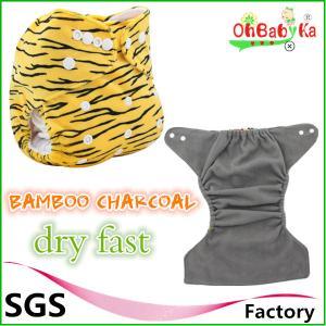 China Ohbabyka Washbale Polyester Reusable perfect bamboo charcoal cloth diaper wholesale