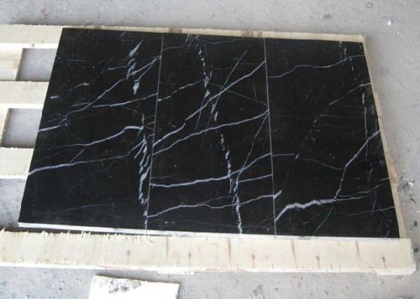Quality Black Marquina Marble Floor And Wall Tiles , Nero Marquina Marble Tiles Non Slip for sale