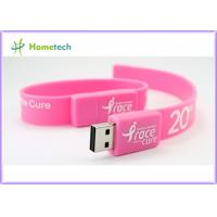 China Pink Silicon Wristband USB Flash Drive Silicon bracelets USB Flash Memory , Multi Color USB 2.0 Bracelet Memory Stick wholesale