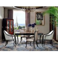 China New classic Luxury room Furniture Dining Tables in glossy painting Ebony wood with Fabric Upholstered Chairs and Buffet wholesale