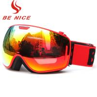 China Durable Comfortable Red Snowboard Goggles , Double Lens Ski Goggles With Anti Burst wholesale