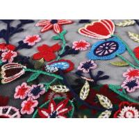 Buy cheap Black Colorful Flowers Embroidery Lace Hand Beaded Fabric For Curtain / Garment from wholesalers