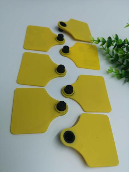 Quality TPU Material Visual RFID Livestock Tags Two Sides Shape Barcode Animal Ear Tag For Cattle for sale
