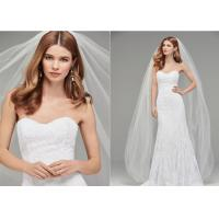 China Long Train Tull A Line Style Wedding Dresses With Hand Made Beading Sexy Strapless wholesale