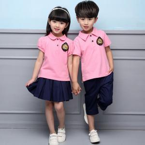 Summer Cotton Fabric Kindergarten Primary School Uniform / Kid Pink Polo Shirts