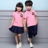 China Summer Cotton Fabric Kindergarten Primary School Uniform / Kid Pink Polo Shirts wholesale