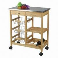 Kitchen Cart With Wire Baskets And Wooden Shelf Wine Rack Stainless Steel Top Of Wangcheng