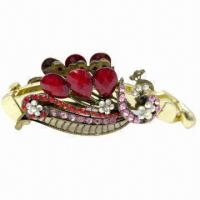 China Hair Clips, Made of Acrylic, Resin and AB Stones wholesale
