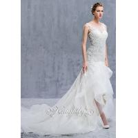 China Sleeveless Sheer Lace Neckline Applique Sheath Waltz-Length Gown on sale