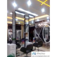 China Budget Chain salon store decoration in white furniture hairdressing styling mirror with wood stand and leather swirl cha wholesale