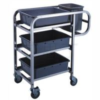 China 3 - Layer Stainless Steel Hand Trolley With Basins And Buckets on sale