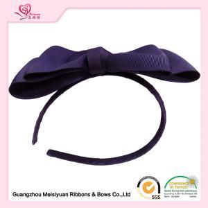 China Women Hair Band , Purple Huge Grosgrain Ribbon Bows With Metal Headband wholesale