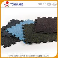 China Long life anti slip shock absorbing gym fitness interlock rubber flooring tile wholesale