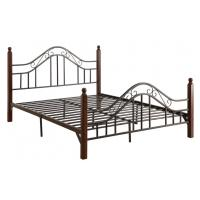 China Cool French Style Full Size Metal Beds Double Black With Headboard on sale