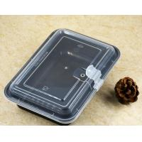 1100ml Rectangle Plastic Food Container with transparent lid and air hole black
