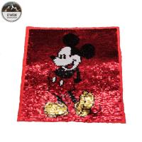 China Popular Mickey Mouse Sew On Patch , Cartoon Reversible Applique Sequin Patches wholesale