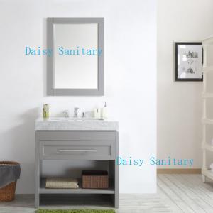 China 36 Inch Oak Bathroom Vanity , Bathroom Furniture Vanities With Marble Top And Mirror on sale