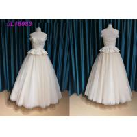 China Champange Off The Shoulder Princess Wedding Dress With Tulle Sweep Train Zipper wholesale