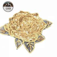 China Gorgoes Golden Floral Sew On Patches , Shiny Rose Embroidery Patch For Garment wholesale
