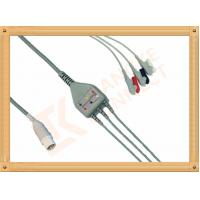 China Mennen ECG Patient Cable 10 Pin 3 Leads Grabber AHA Gray Color wholesale