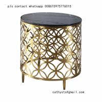 China gold-plating stainless steel marble table laser cutting design for hotel lobby on sale