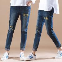 China Summer Womens Printed Denim Jeans Full Elastic Waist Cute Embroidered Pattern wholesale