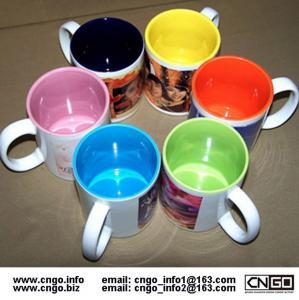 China Export inside colors sublimation ceramic mug custom LOGO 7102 mark cup on sale