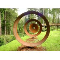 Laser Cut Rusty Outdoor Corten Steel Sculpture For Garden Decoration Circle Shape