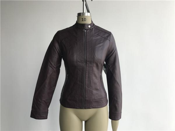 Quality Zip Through Ladies PU Jacket / Burgundy Pleather Bomber Jacket TW76367 for sale